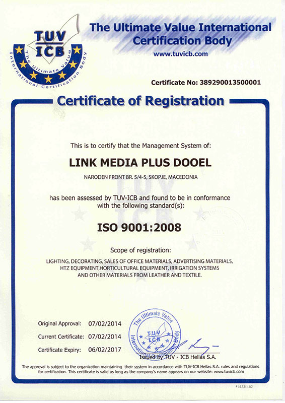 Link media plus ISO 9001